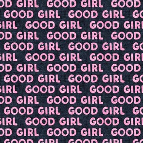 Good girl - dog - typography - pink and blue - LAD19