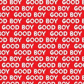 Good boy - dog - typography - red - LAD19
