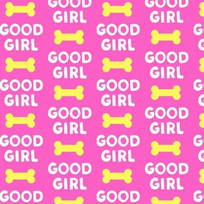Good girl - dog bone - typography - yellow on pink-  LAD19