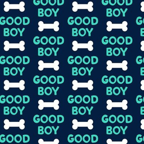 Good boy - dog bone - typography - aqua on navy -  LAD19