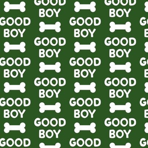 Good boy - dog bone - typography - dark green -  LAD19