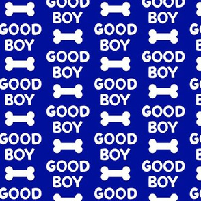 Good boy - dog bone - typography - blue -  LAD19