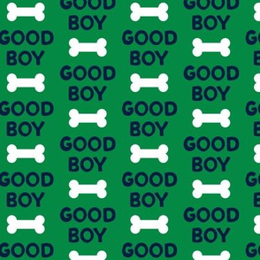 Good boy - dog bone - typography - navy on green -  LAD19