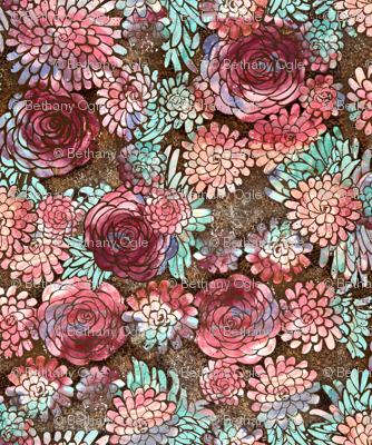 Large Scale Boho Floral Roses and Dahlias in Earth Tones