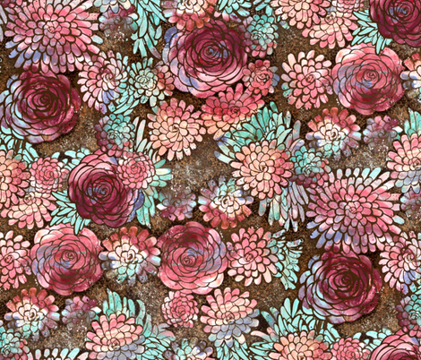 Large Scale Boho Floral Roses and Dahlias in Earth Tones fabric by amborela on Spoonflower - custom fabric