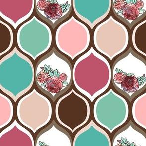 Boho Modern Teal, Peach, Pink Roses in Earth Tone Ogee Pattern