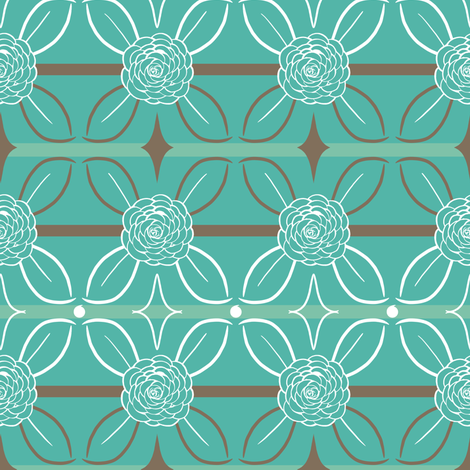 Teal and Brown Roses and Leaves Stripes fabric by amborela on Spoonflower - custom fabric