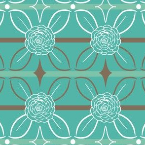 Teal and Brown Roses and Leaves Stripes