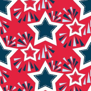 Stars and Fireworks for 4th of July in Red, White, Blue, Large Scale