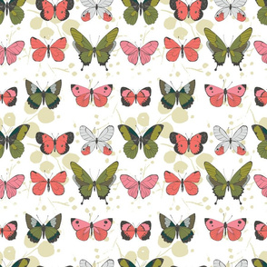 Pink Green Grey Pretty Butterflies on rows