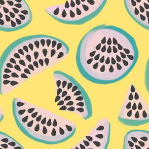 Abstract minimalist watermelons on yellow