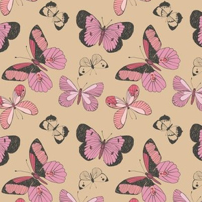 Pink Butterflies on Beige Background