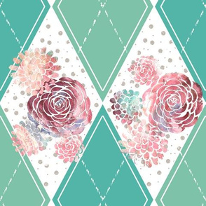 Boho Modern Wedding Bunting Teal and Pink Roses Argyle