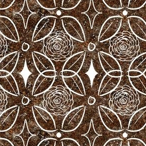 Rose and Leaf Brown Stone Inlay
