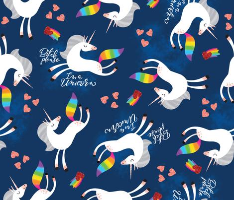 Bitch Please, I'm a Unicorn- Night fabric by cynthiafrenette on Spoonflower - custom fabric