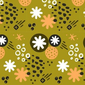 Abstract Asterisk // Olive & Peach