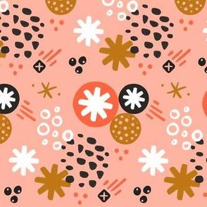 Abstract Asterisks // Pink & Mustard