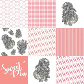 Sweet Pea - Bunny Cheater Quilt Pink