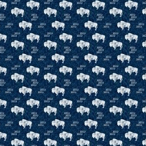 (micro scale) distressed buffalo on dark blue  linen C19BS