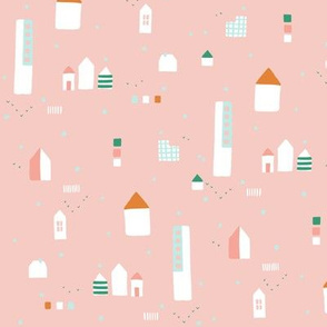 Modern pastel city blocks - pink