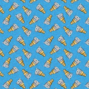 "(3/4"" scale) shark ice cream cones - toss on blue linen  - LAD19BS"