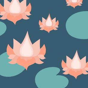 Lotus flowers on lake