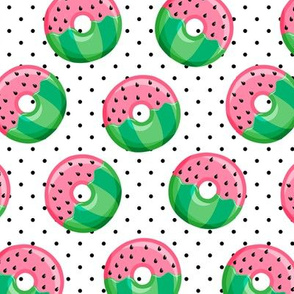 Watermelon donuts - black polka dot -  summer - fruit doughnuts - LAD19