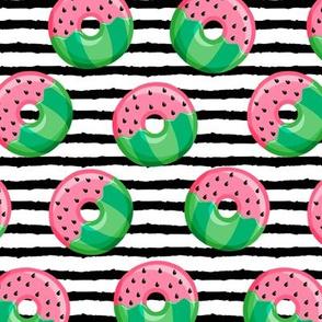 Watermelon donuts - black stripes - summer - fruit doughnuts - LAD19