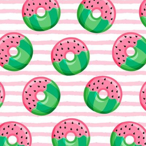 Watermelon donuts - pink stripes - summer - fruit doughnuts - LAD19