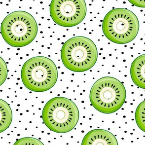 Kiwi donuts - black polka dots - fruit doughnuts - LAD19