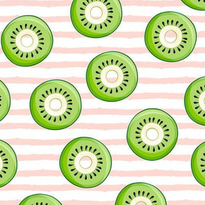 Kiwi donuts - pink stripes - fruit doughnuts - LAD19