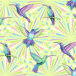 hummingbirds green