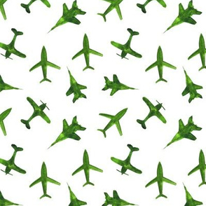 Green airplanes for baby boy || watercolor planes for nursery