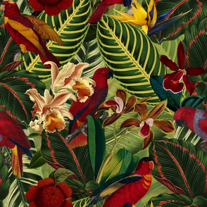 """14"""" Tropical birds parrots in night flower jungle- moody florals"""