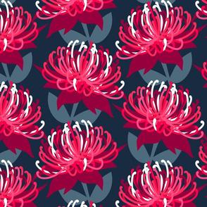 Waratah Australian Flora Pink Navy