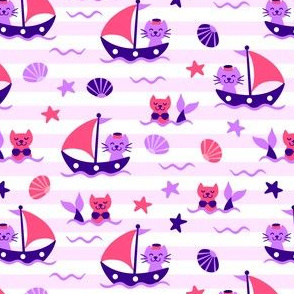 Sailor Cats Pink Purple
