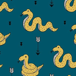 Amazone wanderlust rainforest curious snake and arrows kids animals design teal navy blue ochre yellow