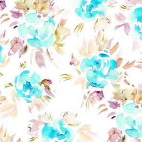 Watercolor tiffany blue flowers || painted florals