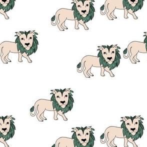 King of the jungle wild cat lion friends cute kids animals teal blue beige
