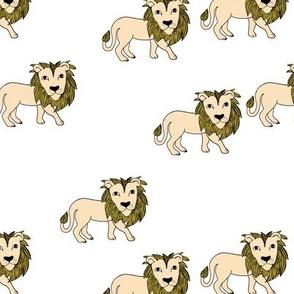 King of the jungle wild cat lion friends cute kids animals ochre yellow