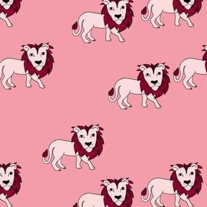 King of the jungle wild cat lion friends cute kids pink girls