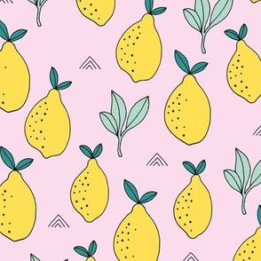 Lemon and lime garden summer fruit cocktail print botanical design pink yellow