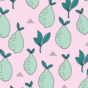 Lemon and lime garden summer fruit cocktail print botanical design pink teal mint