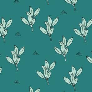Little leaves botanical herbs and spice garden sage leaf teal mint