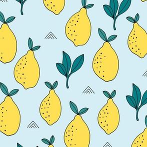 Lemon and lime garden summer fruit cocktail print botanical design blue yellow boys