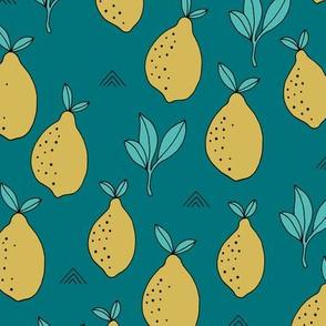 Lemon and lime garden summer fruit cocktail print botanical design blue teal yellow