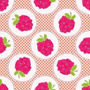Cute raspberries polka dot illustration
