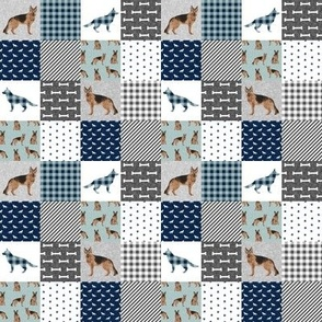 "TINY - german shepherd pet quilt b cheater quilt wholecloth collection 1"" squares"