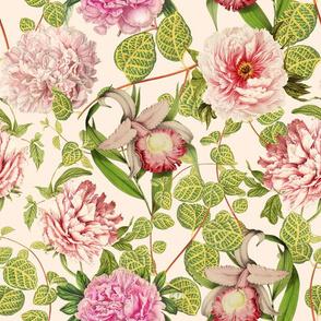 "18"" Pierre-Joseph-Redoute - Historic pastel Roses and Peonies fabric - redoute roses fabric - Mix and Match - on blush"
