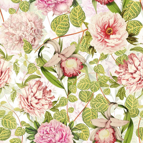"18"" Pierre-Joseph-Redoute - Historic pastel Roses and Peonies fabric - redoute roses fabric - Mix and Match - double on white"